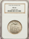 Commemorative Silver: , 1936 50C Delaware MS64 NGC. NGC Census: (894/1639). PCGS Population(1431/2078). Mintage: 20,993. Numismedia Wsl. Price for...