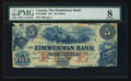Canadian Currency: , Clifton, CW - The Zimmerman Bank $5 18__ Ch. # 815-14-06R Remainder. ...