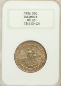 Commemorative Silver: , 1936 50C Columbia MS65 NGC. NGC Census: (594/582). PCGS Population(839/485). Mintage: 9,007. Numismedia Wsl. Price for pro...