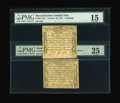 Colonial Notes:Massachusetts, Massachusetts October 18, 1776 4s/6d PMG Very Fine 25, 4s PMG Choice Fine 15.... (Total: 2 notes)