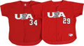 Baseball Collectibles:Uniforms, 2004 Team USA Game Worn Uniforms Lot of 2. Excellent pair of TeamUSA jerseys from 2004, both red mesh gamers. The pair th...