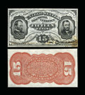 Fractional Currency:Third Issue, Fr. 1275SP 15¢ Third Issue Narrow Margin Pair Very Choice New....