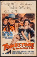 """Movie Posters:Western, Tombstone: The Town Too Tough to Die (Paramount, 1942). Window Card (14"""" X 22""""). Western.. ..."""