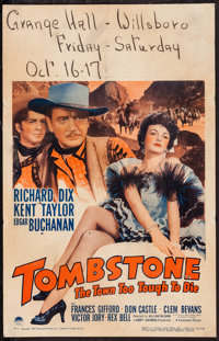 "Tombstone: The Town Too Tough to Die (Paramount, 1942). Window Card (14"" X 22""). Western"