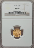 Gold Dollars, 1874 G$1 MS66 NGC....