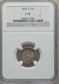Seated Dimes: , 1860-S 10C Fine 12 NGC. NGC Census: (1/35). PCGS Population (4/61).Mintage: 140,000. Numismedia Wsl. Price for problem fre...