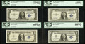 Small Size:Silver Certificates, $1 Silver Certificate Star Collection 1935A - 1957B PCGS Graded Twelve Examples.. ... (Total: 12 notes)