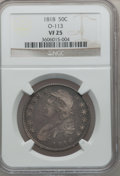 Bust Half Dollars: , 1818 50C VF25 NGC. O-113. NGC Census: (18/512). PCGS Population(28/681). Mintage: 1,960,322. Numismedia Wsl. Price for pr...