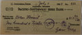 Autographs:Authors, Zane Grey, American Author of Western Novels. Signed Personal Check. Very good....