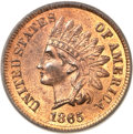 Indian Cents, 1865 1C Fancy 5 MS66 Red and Brown PCGS. CAC....