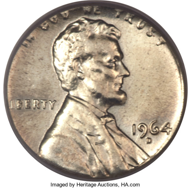 1964-D 1C Lincoln Cent -- Struck on a Silver Dime Planchet -- MS62