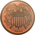 Two Cent Pieces, 1864 2C Small Motto MS65 Red and Brown PCGS. FS-401....