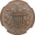 Two Cent Pieces, 1864 2C Small Motto MS65 Brown NGC. CAC. FS-401....