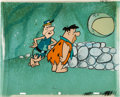 "Original Comic Art:Comic Strip Art, The Flintstones ""The Hypnotist"" Fred Flintstone Production Cel Set-Up with Background Animation Art (Hanna-Barbera, 19..."