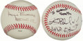 Autographs:Baseballs, Legendary Astronauts Single Signed Baseballs Lot Of 2....