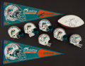 Football Collectibles:Others, Collection of Miami Dolphins Signed Memorabilia With 1972 Mini Helmet. ...