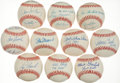 Baseball Collectibles:Balls, Collection of 10 Single Signed Baseballs Many With UniqueInscriptions. ...