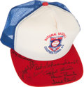 Baseball Collectibles:Hats, Baseball Hall of Famers Multi Signed Cap....