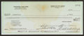 Autographs:Checks, Theodore Williams Signed Check. ...
