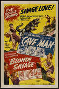 "Movie Posters:Adventure, The Cave Man/Blonde Savage Combo (Favorite Films Corp., R-1947).One Sheet (27"" X 41""). Adventure. ..."