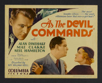 """As the Devil Commands (Columbia, 1933). Title Lobby Card (11"""" X 14""""). Mystery. Starring Alan Dinehart, Mae Cla..."""