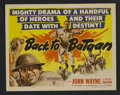 "Movie Posters:War, Back to Bataan (RKO, R-1946). Title Lobby Card (11"" X 14""). War.Starring John Wayne, Anthony Quinn, Beulah Bondi, Fely Fran..."
