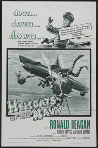 "Hellcats of the Navy (Columbia, 1957). One Sheet (27"" X 41""). War. Ronald Reagan and Nancy Davis star in the o..."