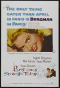 "Movie Posters:Foreign, Paris Does Strange Things (Warner Brothers, 1956). One Sheet (27"" X 41""). Comedy Drama. Starring Ingrid Bergman, Jean Marais..."