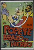 "Movie Posters:Animated, Popeye (Paramount, R-1979). Spanish Poster (26.5"" X 38""). Animated.Stock Spanish poster for the 1970s re-release of the Fle..."