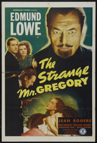 "The Strange Mr. Gregory (Monogram, 1946). One Sheet (27"" X 41""). Mystery. Starring Edmund Lowe, Jean Rogers, D..."
