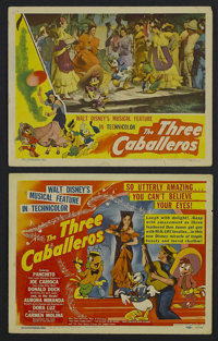 "Three Caballeros (RKO, 1944). Title Lobby Card (11"" X 14"") and Lobby Card (11"" X 14""). Animation. St..."