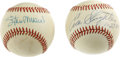Autographs:Baseballs, Stan Musial and Enos Slaughter Single Singed Baseballs Lot of 2.Stan Musial penned is clear and perfect signature to the s...