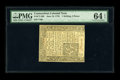 Colonial Notes:Connecticut, Connecticut June 19, 1776 1s/3d PMG Choice Uncirculated 64 EPQ....