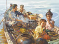 Asian:Other, A Painting of a Vietnamese Family on a Boat. . 40.25 inches high x51.25 inches wide . ...