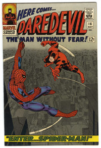 Daredevil #16 (Marvel, 1966) Condition: NM-. Classic Spider-Man crossover and cover. John Romita Sr. cover and art. Firs...