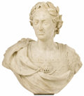 Fine Art - Sculpture, European:Antique (Pre 1900), A Marble Bust of Julius Caesar. Unknown artist. Marble. 26 incheshigh x 25 inches wide x 16 inches deep. . ...