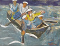 Fine Art - Painting, European:Contemporary   (1950 to present)  , Unknown Artist. Sailors in White Caps in Boat. Oil oncanvas. 33 x 42-1/2 inches (83.8 x 108.0 cm). ...