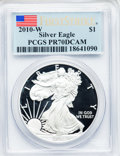 Modern Bullion Coins, 2010-W $1 Silver American Eagle, First Strike PR70 Deep Cameo PCGS.PCGS Population (15394). NGC Census: (0). (#415535)...