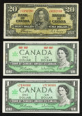 Canadian Currency: , $22 Face Canadian.. ... (Total: 3 notes)