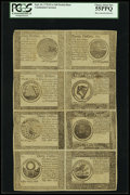 Colonial Notes:Continental Congress Issues, Continental Currency September 26, 1778 Half-Sheet of CounterfeitDetectors $5, $7, $8, $20, $30, $40, $50 and $60 PCGS Choice...