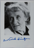 Autographs:Authors, Astrid Lindgren, Swedish Author of Pippi Longstocking Books. Signed Photograph. Fine....