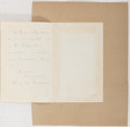 Autographs:Authors, Henry Wadsworth Longfellow, American Poet. Autograph Letter Signed.Two pages. Very good....