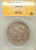 Peace Dollars: , 1934-S $1 AU50 ANACS. NGC Census: (173/1935). PCGS Population(266/2791). Mintage: 1,011,000. Numismedia Wsl. Price for pro...