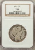 Barber Half Dollars: , 1914 50C VG8 NGC. NGC Census: (66/169). PCGS Population (250/467).Mintage: 124,300. Numismedia Wsl. Price for problem free...