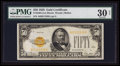 Small Size:Gold Certificates, Fr. 2404 $50 1928 Gold Certificate. PMG Very Fine 30 Net.. ...