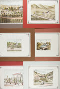 Books:Prints & Leaves, Group of Six Hand-Colored Reproduction Prints of California.Approx. 11 x 14 inches. Mounted to boards and matted. Very good...