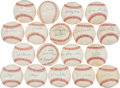 Baseball Collectibles:Balls, Brooklyn Dodgers Collection of Single Signed Baseballs - Lot of 17....