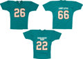 Football Collectibles:Uniforms, 1972 Miami Dolphins Greats Signed Replica Jerseys Lot of 3....