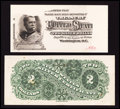 Large Size:Demand Notes, Fr. 240-44 Hessler UNL $2 1886 Silver Certificate Face and BackProofs.. ... (Total: 2 notes)