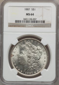Morgan Dollars: , 1887 $1 MS64 NGC. NGC Census: (75453/29246). PCGS Population(54202/16133). Mintage: 20,290,710. Numismedia Wsl. Price for ...